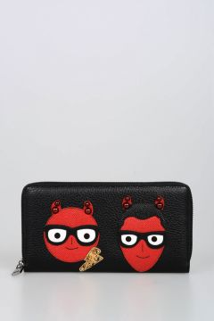 DG FAMILY Leather Embroidered Wallet with Stud