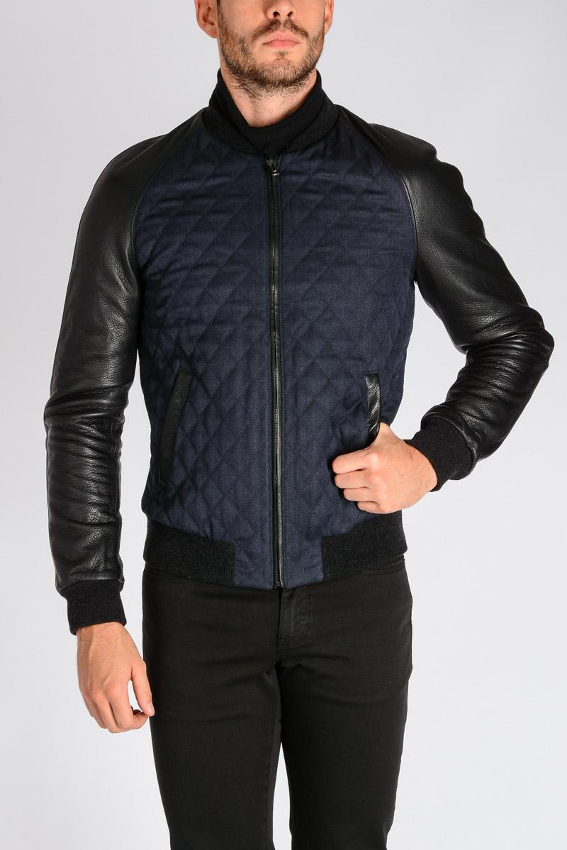 15257e6af7 Dolce   Gabbana Men Leather and Wool Jacket - Glamood Outlet