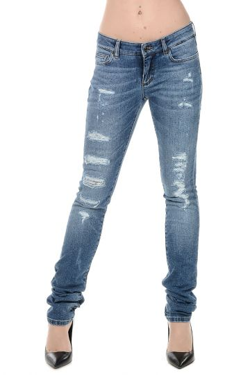 Jeans in Denim Con strappi 14 cm