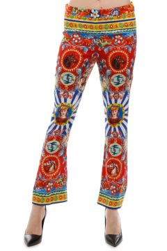 Stretch Silk Pottery Printed Trousers