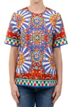 Patterned Cotton Blend T-Shirt