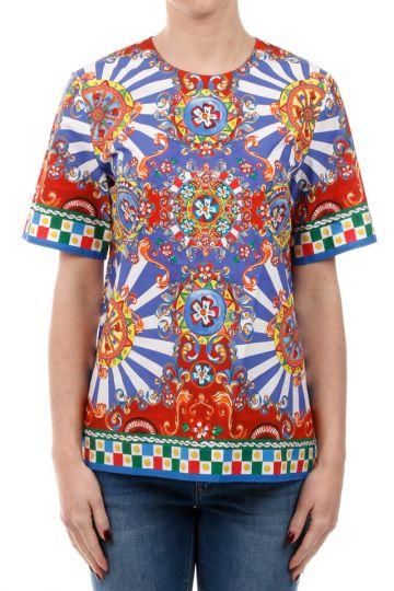 T-Shirt con Fantasia in Misto Cotone