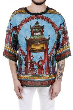 T-Shirt Stampata in Misto Lino e Cotone