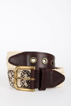 Leather and Woven Fabric Belt 40 mm