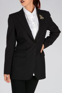 Embroidery Virgin Wool Blend Blazer