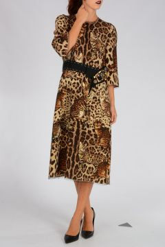 Stretch Wool Leopard Print Dress with Cats