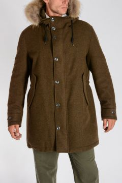 Wool Blend MIRON Parka with Fur Trim