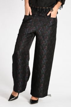Floral Brocade Wide Leg Pants
