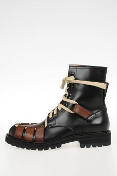 Bicolor Leather Military Boots