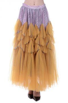 Tiered Silk Tulle Skirt