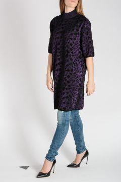 Leopard Print Viscose & Lurex Sweater Tunic