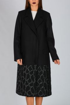 Embroidery Wool Blend Coat