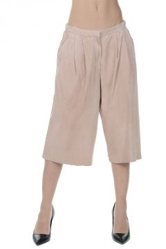 Suede Leather Culotte Pants