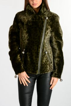 Leo Printed Fur Leather Jacket