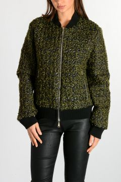 Leather Jacket with Wool Blend Details