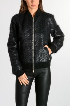 Leather Jacket with Fur Details