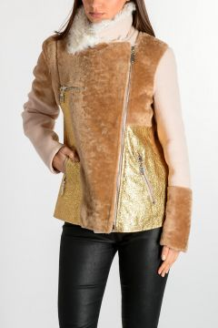 Leather & Wool Blend Jacket with Fur Details