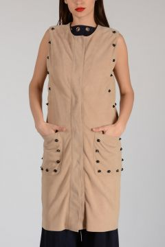 Suede Leather Dress with Stud