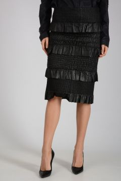 Leather Skirt with Wrinkle and Frill