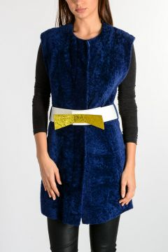 Reversible Real Fur Sleeveless Jacket With Belt