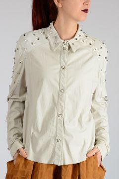 Leather Studded Blouse