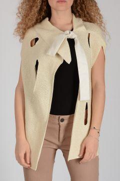 Cotton Sleeveless Cardigan with Bow