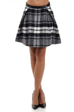 Back leather checked skirt