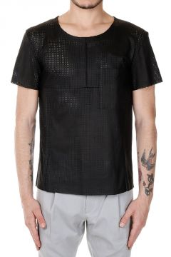 Perforated Leather T-Shirt with Breast Pocket