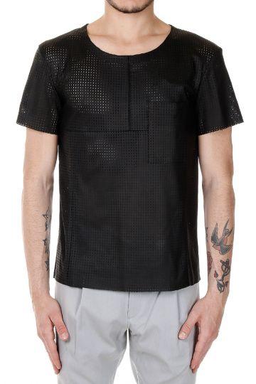 T-Shirt in Pelle Traforata con Taschino