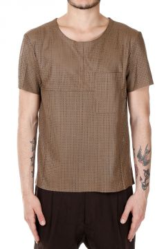 T-Shirt in Pelle con Taschino