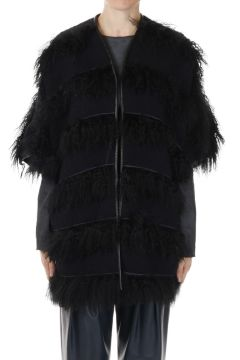 Fabric Cape with Lamb Fur