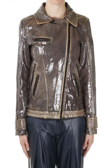 Plastic-coated Kangaroo Leather Biker Jacket