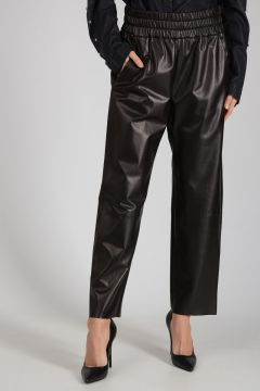 Leather Pants with Waist Elastic