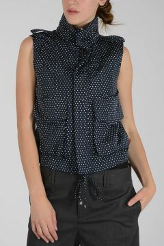 Sleeveless Hoodie Jacket with Dots