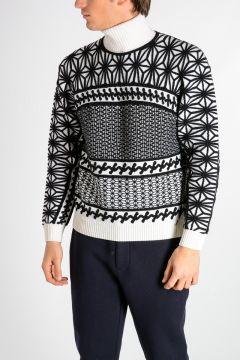 Geometric Intarsia Wool Blend Sweater