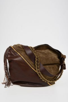 Vintage Effect Leather Shopper Bag