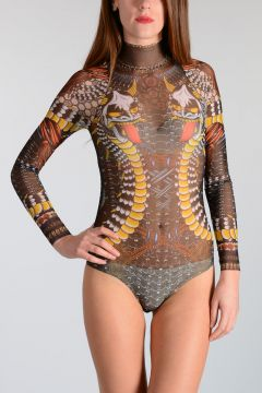 Tattoo Printed Tulle Bodysuit