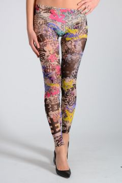 Leggings in Tulle Stampa Graffiti