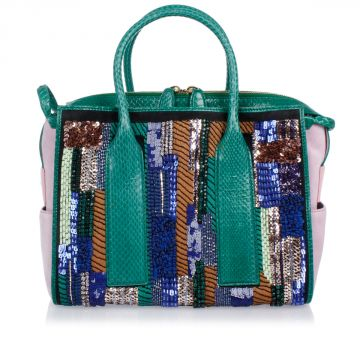 Snake Leather Hand Bag With Paillettes Embroidery