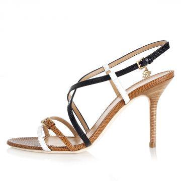 Sandalo in Pelle Stampata