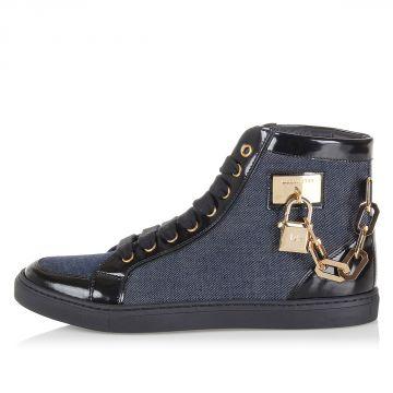 Sneakers in Pelle Spazzolata e Denim