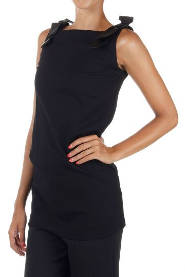 Sleeveless Top with silk ribbons