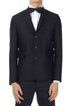 Wool Silk Single Breasted Blazer