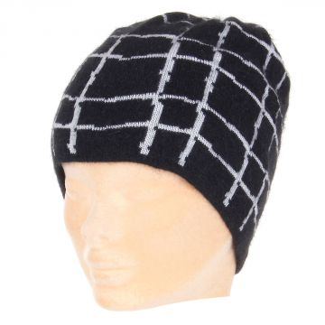 Checked angora mixed hat