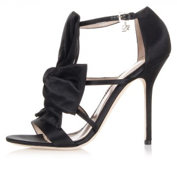 Sandalo in raso con tacco e fiocco 11,5 cm