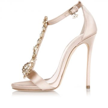 11,5 Cm Satin Sandal High Heel with Jewel Application