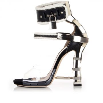 12 cm Leather High heels with metal applications