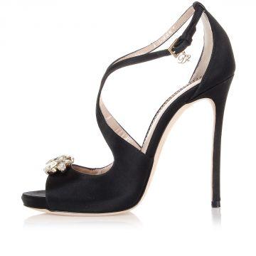 Sandalo in Raso con Tacco Dettaglio Gioiello 12 cm