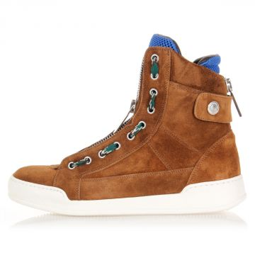 Sneakers alte in velour con zip