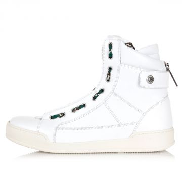 Sneakers alte in pelle con zip